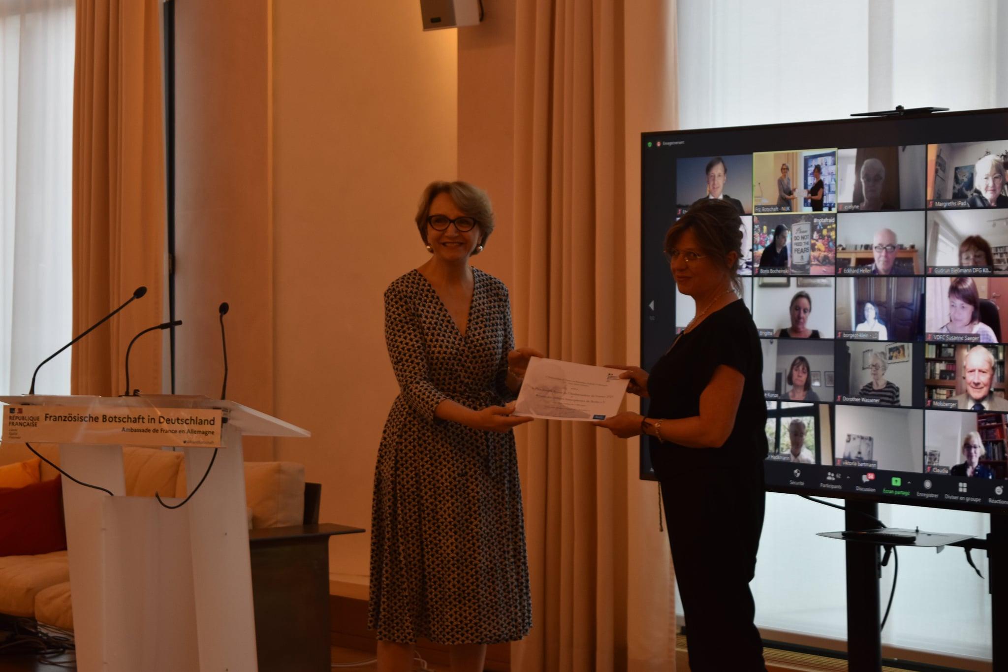 Es war eine Ehre! L'Hôtel des Autrices reçoit le Prix Joseph Rovan 2021.